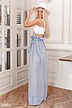 Длинная юбка в полосочку с поясом бело-синяя, фото 2
