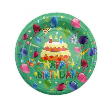 Бумажные тарелки диам.18см Тортик (уп. 10шт)