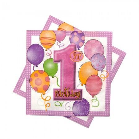 Салфетки 1 год розовые (упаковка 20шт)