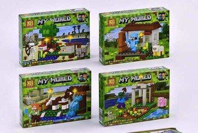 Конструктор Bela/Lele Minecraft 93052 четыре вида (8 шт. в блоке)