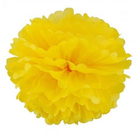 Декор бумажные Помпоны 25см (желтый 0019), фото 2