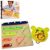 Деревянная игрушка Шнуровка, резиночки, шнурки, MD1193