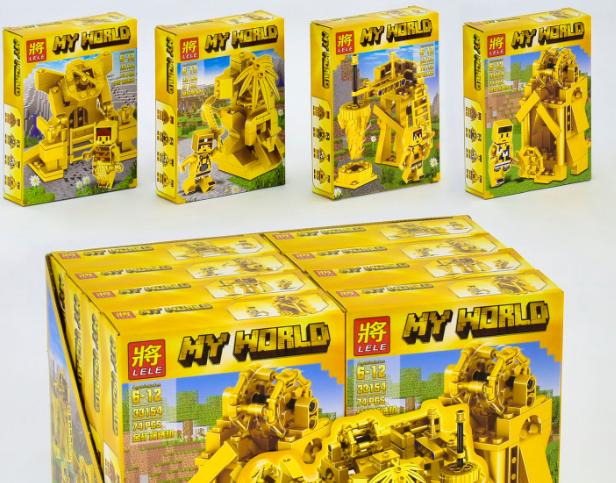 """Конструктор Bela/Lele Minecraft 33154 """"Золотая серия"""" Четыре вида (8 шт. в блоке)"""