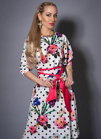 Летнее платье в горох с цветами, фото 2