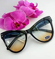 Имиджевые черные очки от солнца, прозрачный трехцветный градиент (075), фото 1