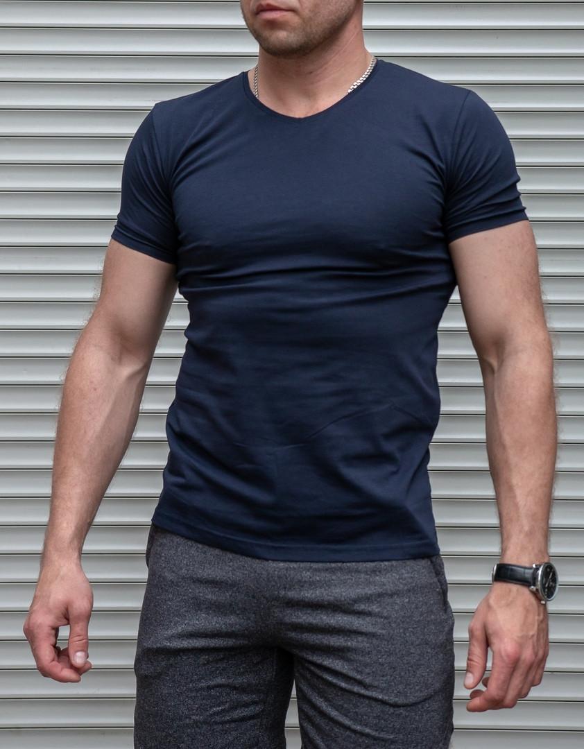 Мужская футболка синяя однотонная