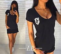 Женская летняя футболка декорирована аппликацией из камней, фото 1