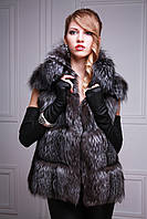 жилетка из чернобурки широкими ярусами Silver fox fur vest gilet sleeveless