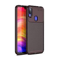 Чехол Carbon Case Xiaomi Redmi Note 7 Pro Коричневый