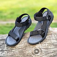 Босоножки сандалии женские черные на липучках Restime (код 124) - жіночі босоніжки сандалі чорні