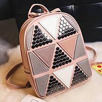 Женский рюкзак София с ромбиками и заклёпками Розовый, фото 1