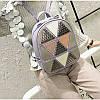 Женский рюкзак София с ромбиками и заклёпками Розовый 1031 🎁 Браслет в подарок, фото 5