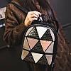 Женский рюкзак София с ромбиками и заклёпками Розовый 1031 🎁 Браслет в подарок, фото 9