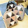 Женский рюкзак София с ромбиками и заклёпками Розовый 1031 🎁 Браслет в подарок, фото 4
