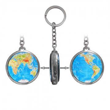 Брелок для ключей двухсторонний Глобус голубой, фото 2