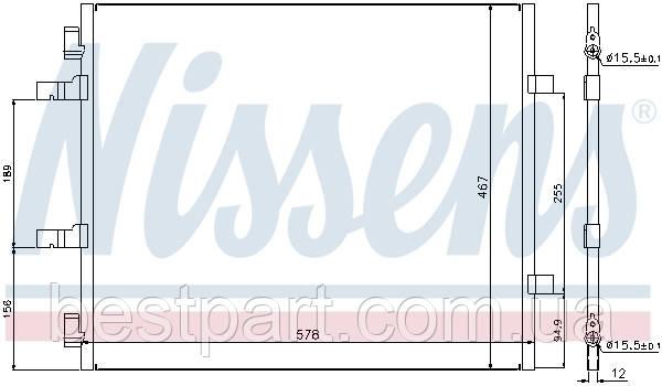 Радіатор кондиціонера NISSAN PRIMASTAR; OPEL VIVARO; RENAULT TRAFIC II 2.0D 06- (110418)
