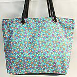 Универсальные сумки оптом для покупок (голубой цветы)31*44см, фото 2