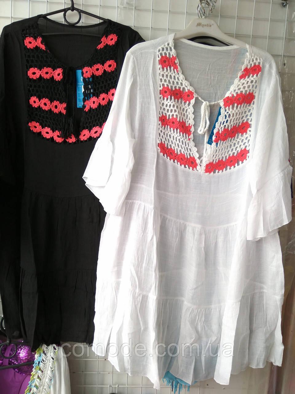 Туника-платье пляжная средней длины