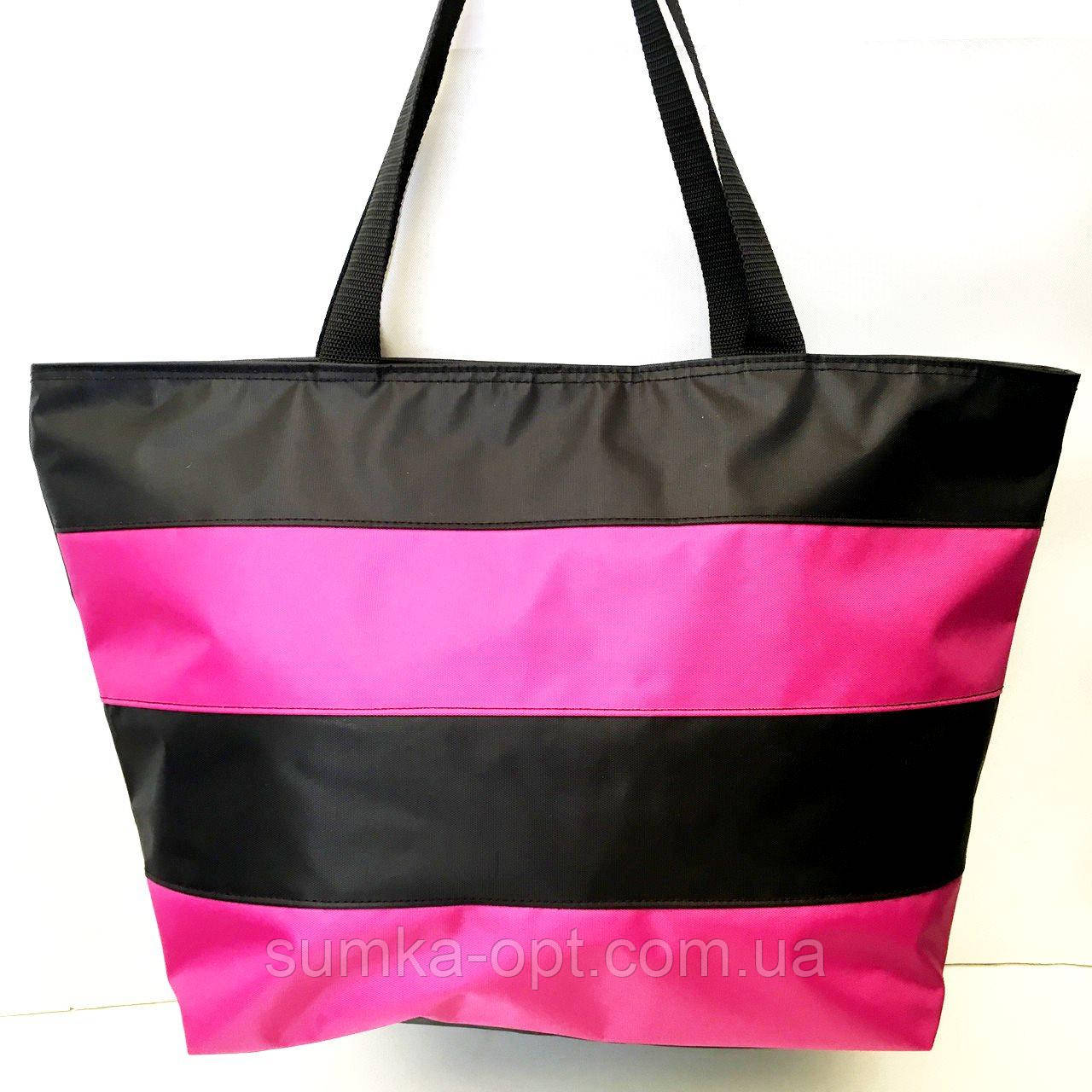 Универсальные сумки оптом для покупок(черный-фуксия)34*55см