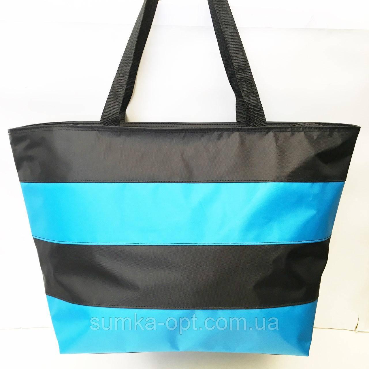 Универсальные сумки оптом для покупок (черный-голубой)34*55см