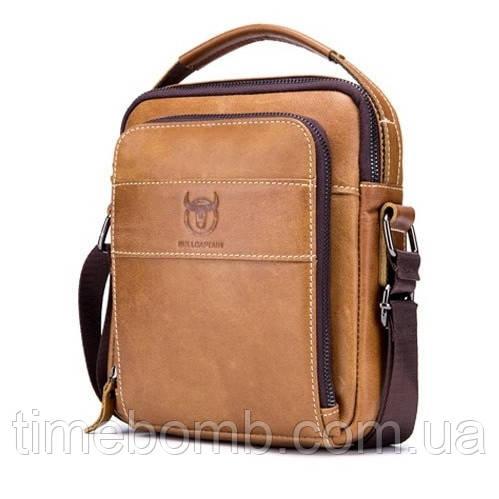 Мужская кожаная наплечная сумка барсетка BullCaptain Modern коричневая 056