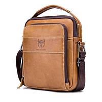 Мужская кожаная наплечная сумка барсетка BullCaptain Modern коричневая 056, фото 1