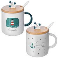 """Чашка с крышкой и ложкой """"Memories""""R86150 керамика / бамбук / силикон, чашки, кружка, посуда, столовая посуда, оригинальные чашки и кружки"""