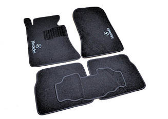 Ворсовые коврики для Mercedes E-class (W124) (1984-1997) Текстильные в салон авто (чёрный) (StingrayUA.)