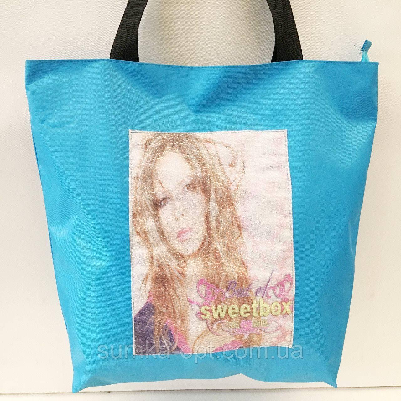 Универсальные сумки оптом для покупок (голубой принт)38*42см