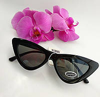 Имиджевые солнцезащитные узкие очки лисички черного цвета, женские (076), фото 1