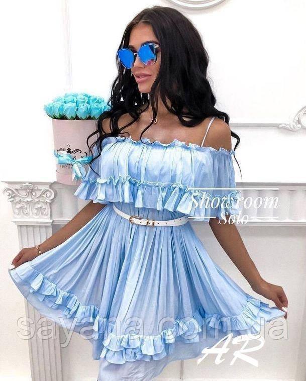 Женское летнее платье с рюшами и поясом в расцветках. АР-35-0519