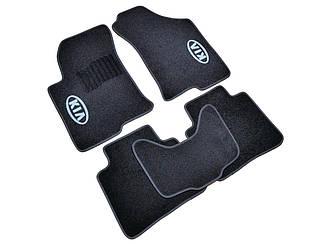 Ворсовые коврики для Kia Carens (minivan) (АКП) (2006-) Текстильные в салон авто (чёрный) (StingrayUA.)