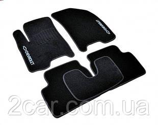 Ворсовые коврики для Chevrolet Lanos (Т 100) (1997-2002) Текстильные в салон авто (чёрный) (StingrayUA.)