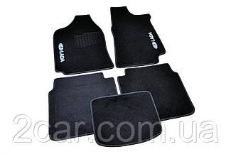 Ворсовые коврики для Lada Granta Текстильные в салон авто (чёрный) (StingrayUA.)