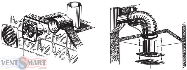 Способы и варианты монтажа бытовых осевых вытяжных вентиляторов Блауберг Bravo 125 T: потолочный и настенный монтаж.