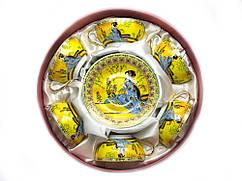 Сервиз фарфоровый круглый (желтый)