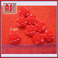 Кабошон розочка 10 мм красная