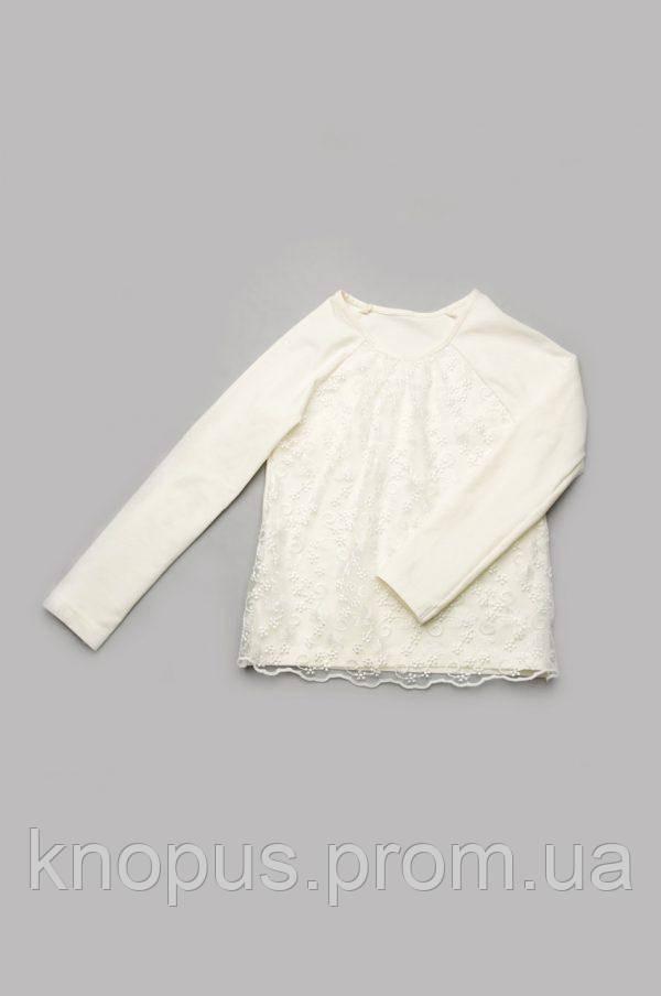 Нарядный реглан для девочки молочный, Модный карапуз, размеры 110-128