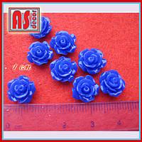 Кабошон розочка 10 мм синяя