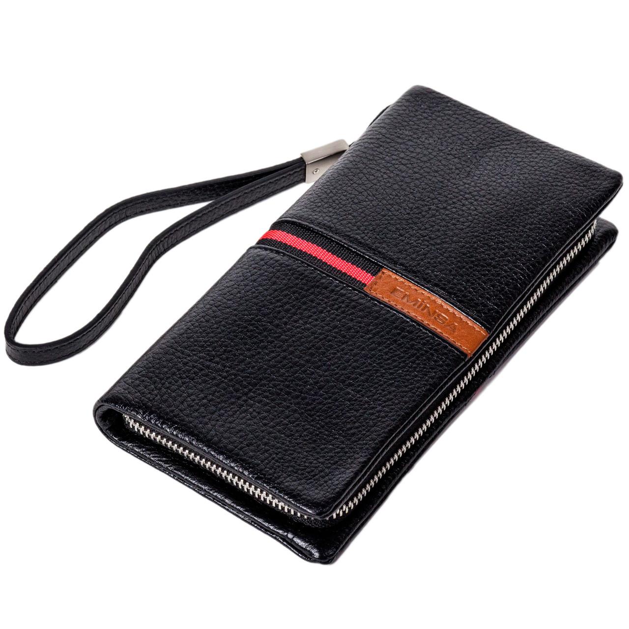 Мужской кошелек клатч Eminsa 5113-37-1 кожаный черный
