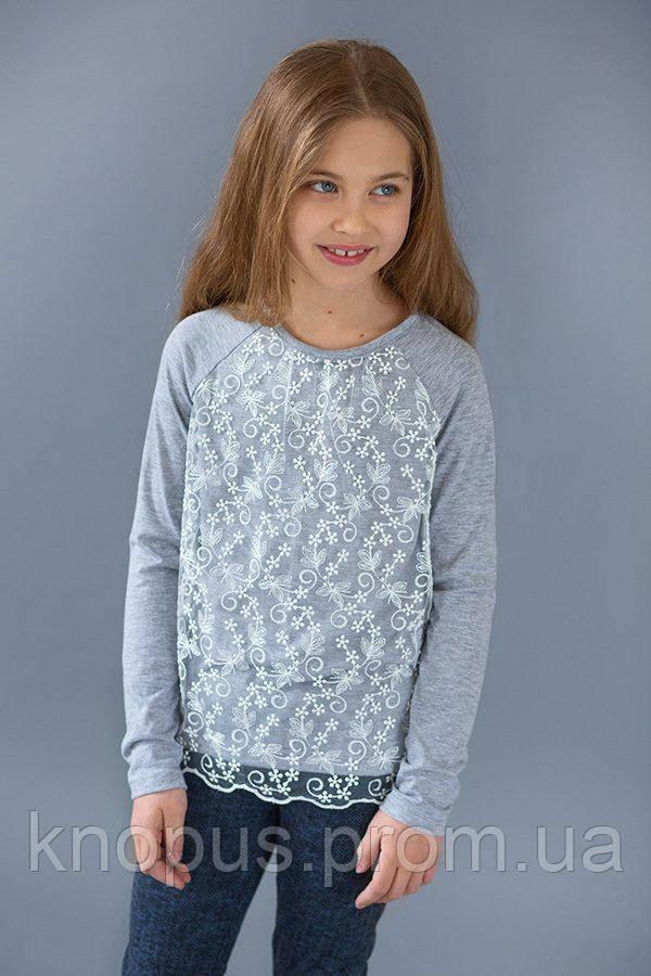 Нарядный реглан для девочки с гипюром светло-серый, Модный карапуз, размеры 104128