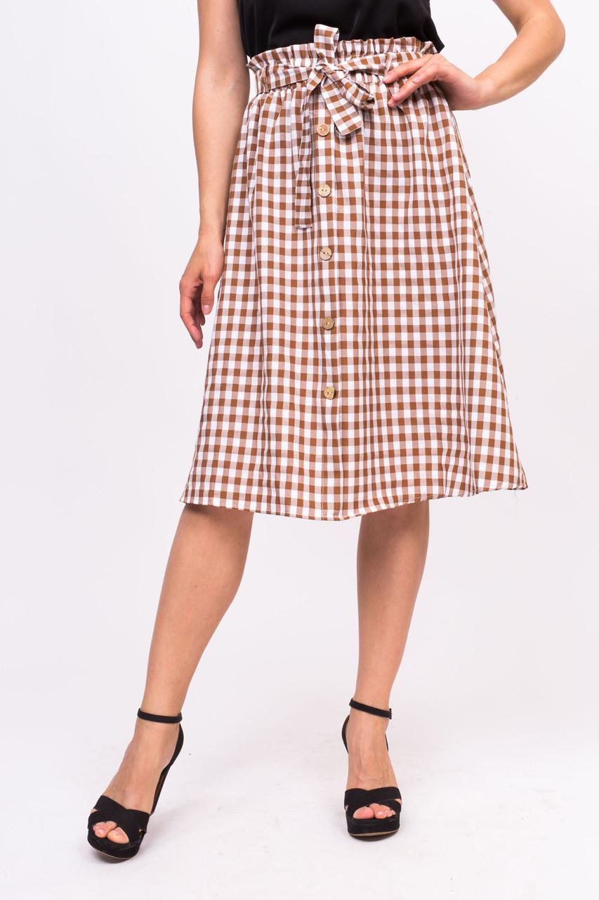 Клетчатая юбка с пояском LUREX - коричневый цвет, S (есть размеры)