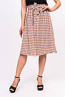 Клетчатая юбка с пояском LUREX - коричневый цвет, S (есть размеры), фото 1