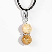 Кулон из ископаемого коралла, Ø10 мм., серебро, 1050КЛК, фото 1