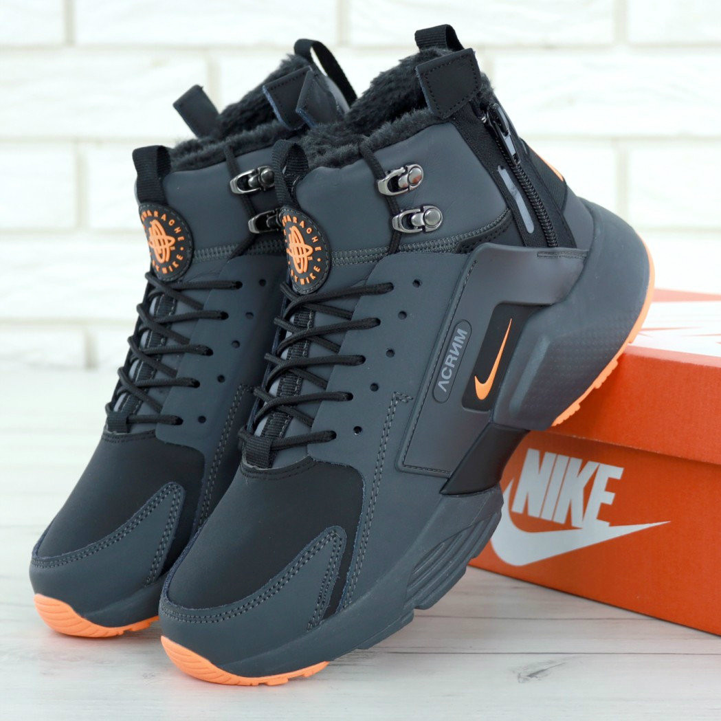 baecd7b1 Зимние мужские кроссовки Nike Air Huarache X Acronym Winter Black Orange /  Реплика 1:1