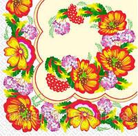 Салфетка Марго 33*33 3сл. Українські маки