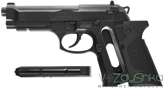 Umarex Beretta Elite 2 со сдвинутыми накладками на рукоять и извлеченным магазином