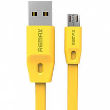 Кабель USB - micro USB Remax Full Speed, желтый, плоский, 2 метра, шнур микро юсб для зарядки 2м , фото 2