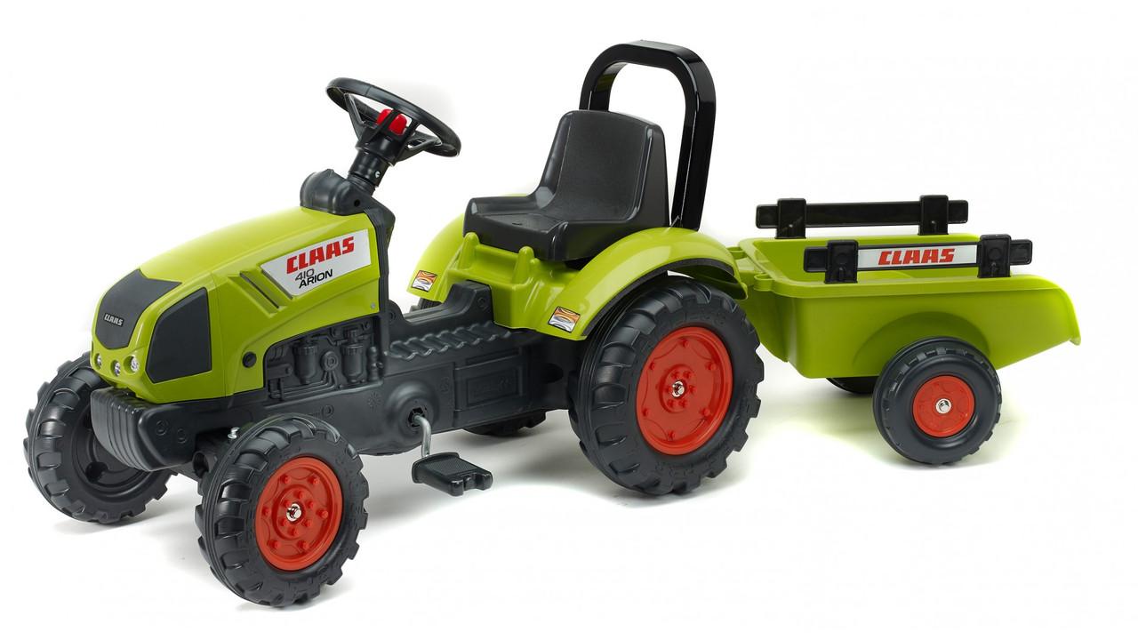 Детский трактор Falk на педалях с прицепом Claas Arion зелёный 2040AB