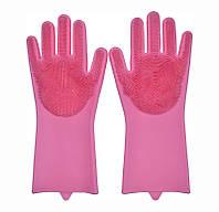 Перчатки силиконовые для мытья посуды хозяйственные для кухни Magic Silicone Gloves ярко розовые 1007405-Red-1